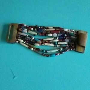 Multicolor hand strung beaded BRACELET with large